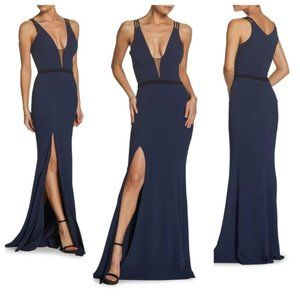 NWOT Dress the Population Lana Plunging Dress Gown